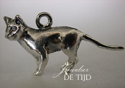 Zilveren as hanger kat groot
