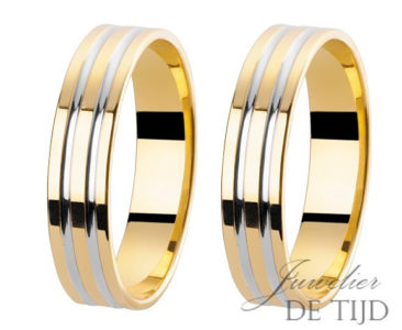 Bi-color geel/wit gouden trouwringen 4mm breed