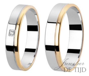 Bi-color geel/wit gouden trouwringen 4 en 5mm breed met briljant geslepen diamant