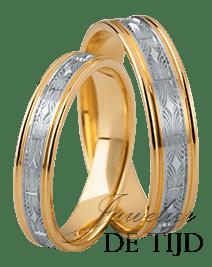 Bi-color geel/wit gouden trouwringen 4 en 5mm breed