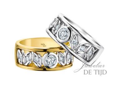 Geel of Wit gouden ring Fiora ® met briljant