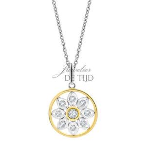 Bi-color geel/wit gouden collier Fiora ® met briljant