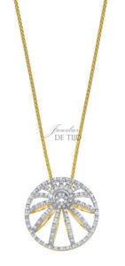 Bi-color geel/wit gouden collier Florence ® met briljant