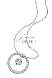 Wit gouden collier Luna ® met briljant