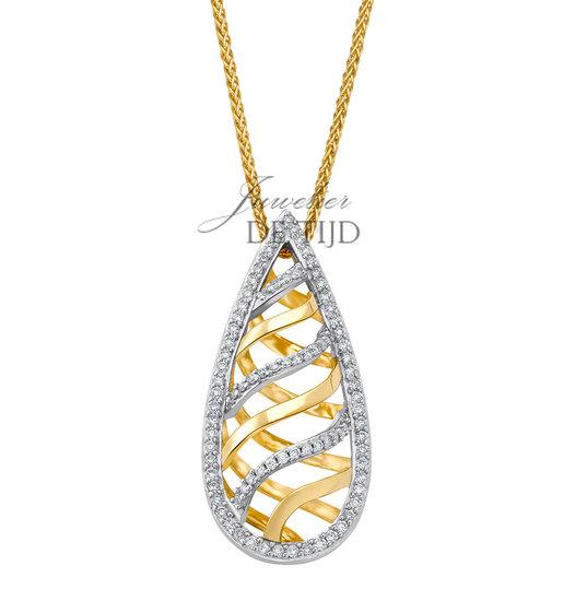 Bi-color geel/wit gouden collier Pauline ® met briljant