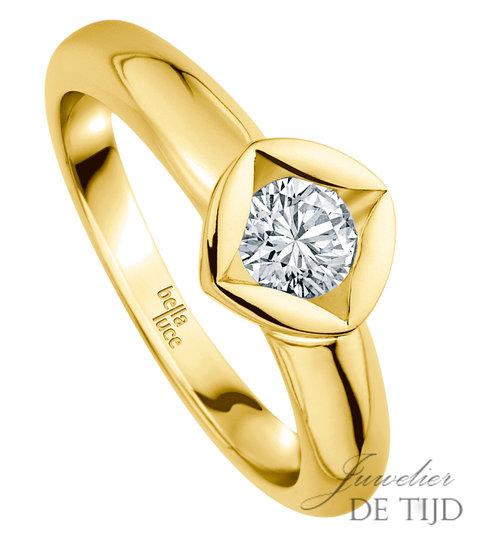 14 karaats gouden design solitaire ring met 0,10ct briljant