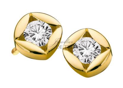 Geel gouden oorsteker Solitaire ® met briljant