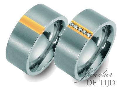 Bi-color titanium/geel gouden trouwringen 8mm breed met vijf briljanten