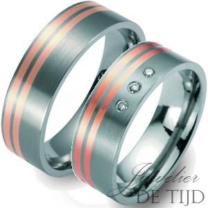 Bi-color titanium/rood gouden trouwringen 6mm breed met drie briljanten