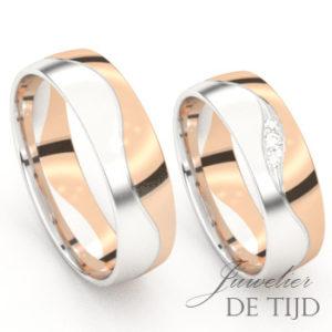 Bi-color rosé/wit gouden trouwringen met 3 briljant geslepen diamanten