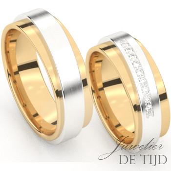 Bi-color geel/wit gouden Trouwringen met 10 briljant geslepen diamanten