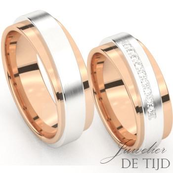 Bi-color rosé/wit gouden Trouwringen met 10 briljant geslepen diamanten