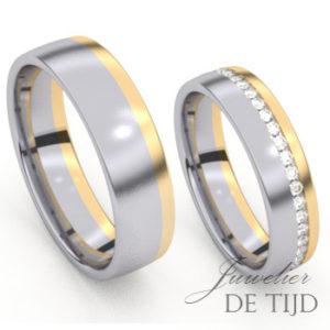 Geel gouden trouwringen met palladium en briljant geslepen diamanten