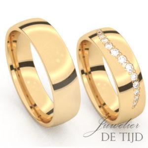 Geel gouden trouwringen met 12 briljant geslepen diamanten