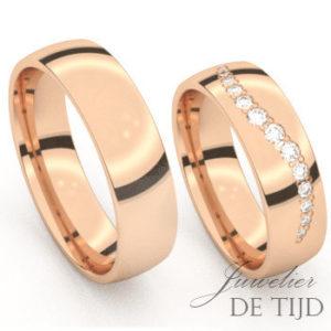Rosé gouden trouwringen met 12 briljant geslepen diamanten
