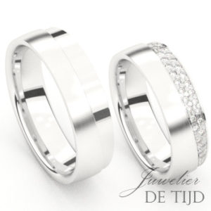 Wit gouden trouwringen met briljant geslepen diamanten