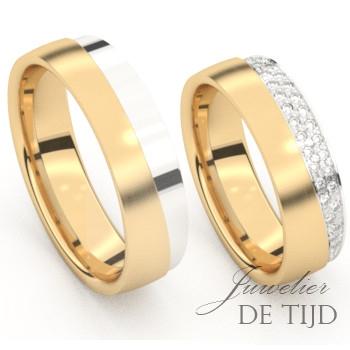 Bi-color geel/wit gouden Trouwringen met briljant geslepen diamanten