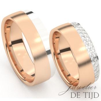Bi-color rosé/wit gouden Trouwringen met briljant geslepen diamanten