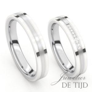 Wit gouden trouwringen met edelstaal en 9 briljant geslepen diamanten