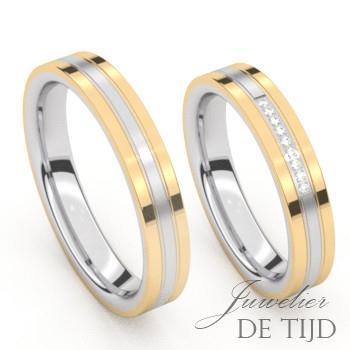 Bi-color geel gouden Trouwringen met edelstaal en 9 briljant geslepen diamanten