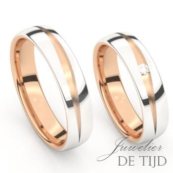 Bi-color rosé/wit gouden Trouwringen met een briljant geslepen diamant
