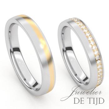 Bi-color edelstalenTrouwringen met geel goud en briljant geslepen diamanten