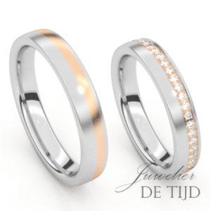 Bi-color edelstalen trouwringen met rosé goud en briljant geslepen diamanten
