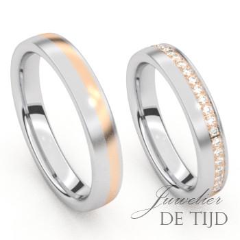 Bi-color edelstalenTrouwringen met rosé goud en briljant geslepen diamanten
