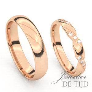 Rosé gouden trouwringen met 9 briljant geslepen diamanten