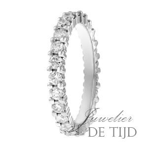 Wit gouden alliancering memoire ring met briljant geslepen diamanten