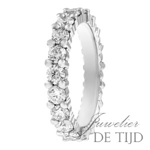 Wit gouden alliancering memoire ring met briljant geslepen diamanten