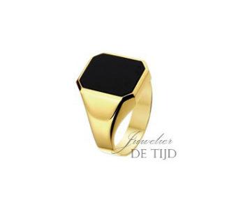 14 karaats geel gouden zegelring met onyx