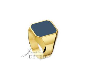 14 karaats geel gouden zegelring met lagensteen