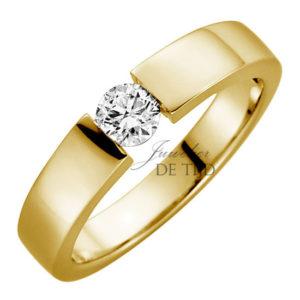 Gouden spanring met brug met briljant geslepen diamant