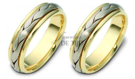 Gevlochten 14 karaats Bi-color geel/wit gouden trouwringen