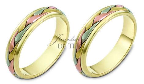 Gevlochten tri-color geel/wit/rosé gouden trouwringen