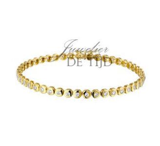 14 karaats geel gouden tennisarmband met zirkonia