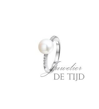 Witgoud-gerhodineerde zilveren ring met parel en zirkonia