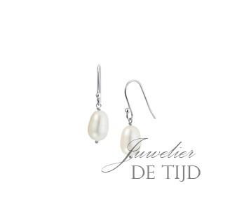 Witgoud-gerhodineerde zilveren oorhangers met zoetwaterparel
