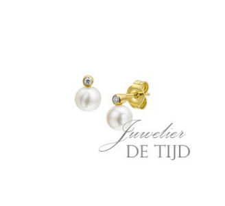 14 karaats geel gouden oorstekers met zoetwaterparel en briljant