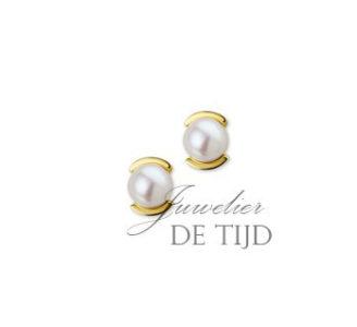 14 karaats geel gouden oorstekers met zoetwaterparel