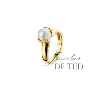 14 karaats geel gouden ring met zoetwaterparel