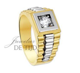 14 karaats geel gouden ring met zirkonia