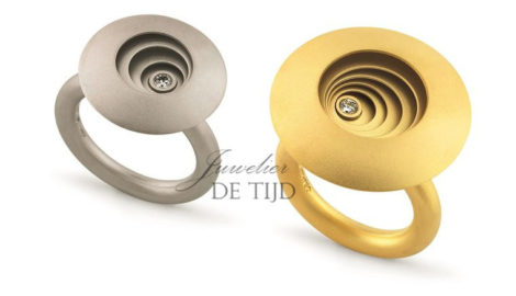 Gouden designring met briljant geslepen diamant Circulus