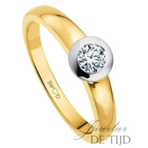 14 karaats geel/wit Bi-color gouden solitaire ring