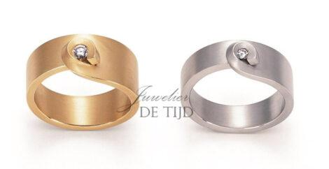 Gouden design tourbillon ring met briljant geslepen diamant
