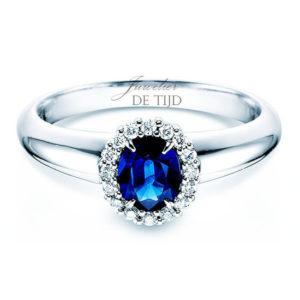 14 karaats witgouden entourage ring met saffier en briljant geslepen diamant