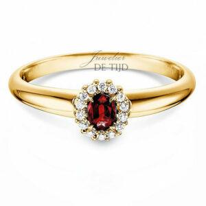 14 karaats geelgouden entourage ring met robijn en briljant geslepen diamant