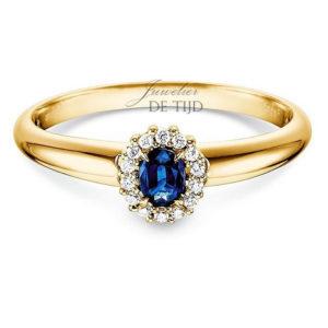 14 karaats geelgouden entourage ring met saffier en briljant geslepen diamant