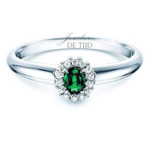 14 karaats witgouden entourage ring met smaragd en briljant geslepen diamant